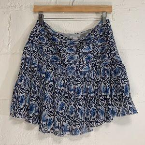 H&M Blue White Floral Drop Waist Mini Skirt Sz 10